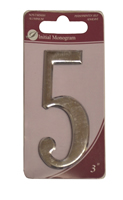 3 inch Silver Effect Numeral 5