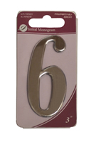 3 inch Silver Effect Numeral 6
