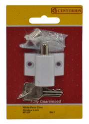 45 mm x 35 mm White Patio Door / Window Lock