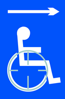 Disabled arrow right - Tactile Sign 150 x 225mm