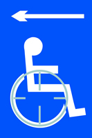 Disabled arrow left - Tactile Sign 150 x 225mm