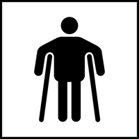 Man on crutches graphic - Tactile Sign 150 x 150mm