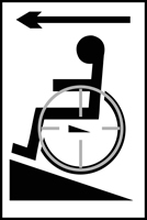Disabled ramp arrow left - Tactile Sign 150 x 225mm