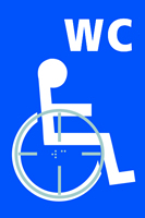 Disabled WC graphic - Tactile Sign 150 x 225mm