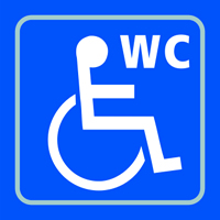 Disabled WC graphic - Tactile Sign 150 x 150mm