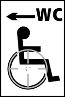 Disabled WC arrow left - Tactile Sign 150 x 225mm