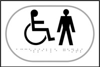 Disabled Gentlemen graphic - Tactile Sign 225 x 150mm