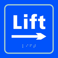 Lift arrow right - Tactile Sign 150 x 150mm