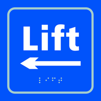 Lift arrow left - Tactile Sign 150 x 150mm