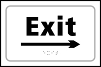 Exit arrow right - Tactile Sign 225 x 150mm