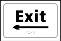 Exit arrow left - Tactile Sign 225 x 150mm