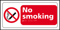 No smoking - Tactile Sign 300 x 150mm