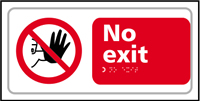 No exit - Tactile Sign 300 x 150mm