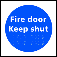 Fire door Keep shut - Tactile Sign 150 x 150mm