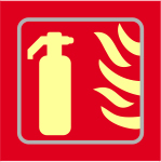 Fire extinguisher graphic - Tactile Photoluminescent 150 x 150mm made from Photoluminescent