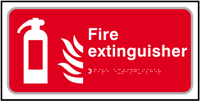 Fire extinguisher - Tactile Sign 300 x 150mm