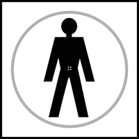 Gentlemen graphic - Tactile Sign 150 x 150mm