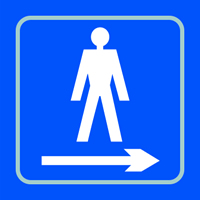 Gentlemen graphic arrow right - Tactile Sign 150 x 150mm