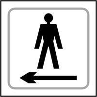 Gentlemen graphic arrow left- Tactile Sign 150 x 150mm
