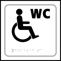 Disabled WC symbol - Tactile Sign 150 x 150mm