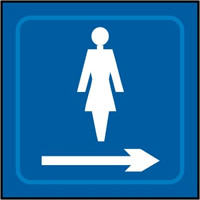 Ladies graphic arrow right - Tactile Sign 150 x 150mm