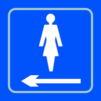 Ladies graphic arrow left- Tactile Sign 150 x 150mm