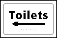 Toilets arrow left - Tactile Sign 225 x 150mm