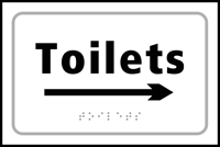 Toilets arrow right - Tactile Sign 225 x 150mm