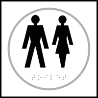 Gentlemen / Ladies graphic - Tactile Sign 150 x 150mm