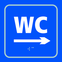 WC arrow right - Tactile Sign 150 x 150mm