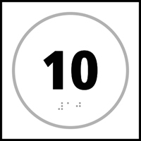Number 10 - Tactile Sign 150 x 150mm