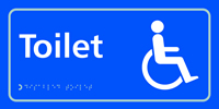 Toilet with disabled symbol - Tactile Sign 300 x 150mm