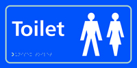 Toilet Ladies / Gents symbol - Tactile Sign 300 x 150mm