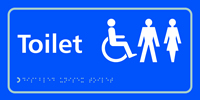 Toilet Disabled / Gents / Ladies - Tactile Sign 300 x 150mm