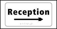 Reception arrow right - Tactile Sign 300 x 150mm