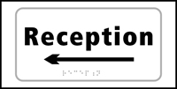 Reception arrow left - Tactile Sign 300 x 150mm
