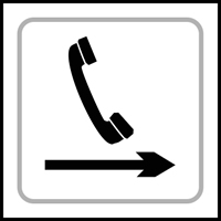 Telephone graphic arrow right - Tactile Sign 150 x 150mm
