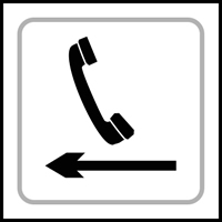 Telephone graphic arrow left - Tactile Sign 150 x 150mm