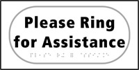 Please ring for assistance - Tactile Sign 300 x 150mm