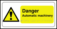Danger Automatic machinery - Tactile Sign 300 x 150mm