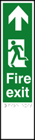 Fire exit man left arrow up - Tactile 75 x 300mm