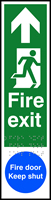 Fire exit man right arrow up / Fire door Keep shut - Tactile 75 x 300mm