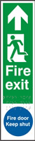 Fire exit man left arrow up / Fire door Keep shut - Tactile 75 x 300mm