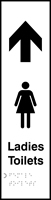 Ladies toilets arrow up - Tactile 75 x 300mm