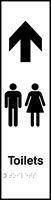 Toilets Gents / Ladies graphic arrow up - Tactile 75 x 300mm