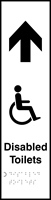 Disabled toilets with graphic arrow up - Tactile 75 x 300mm