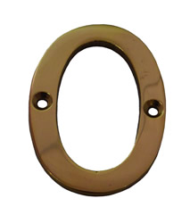75 mm 3 inch Polished Brass Victorian No 0 Door Number