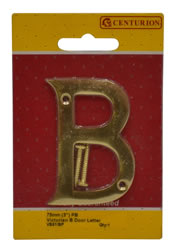 75 mm 3 inch Polished Brass Victorian B Door Letter
