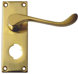 100 mm Polished Brass Victorian Scroll Privacy Handle