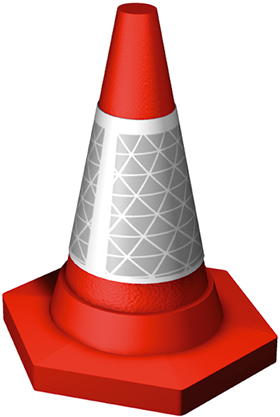 Red cone with ref white band sign